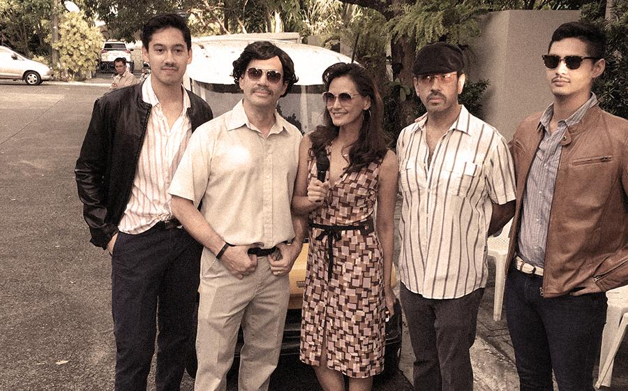 L-R: Matteo Gonzalez as a DEA agent, Mon Gonzalez as Pablo Escobar, Tweetie de Leon Gonzalez as Valeria, Bong Gonzalez as Gustavo and Lorenzo Gonzalez as a DEA agent
