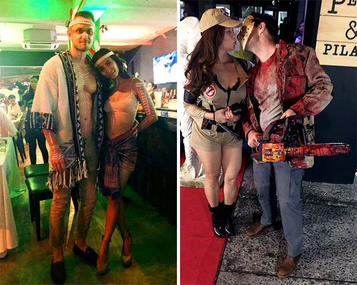 L-R: Liez Estrada with her boyfriend dressed as Native Americans; Cristalle Belo as a Ghost Buster with hubby Justin Pitt as Jason
